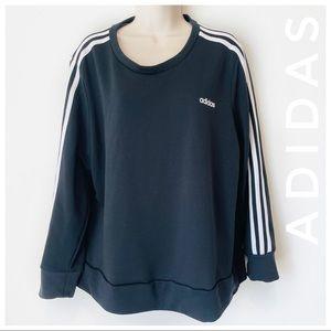 ADIDAS crewneck three stripe sweatshirt black whit